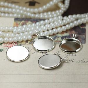 20PCS Bright silver 20mm round cabochon settings pendant blanks #23133