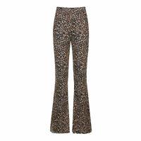 Damen Hosen Lang Leopard Schlaghose Hohe Taille Stretch Weite Bein Freizeithose