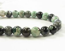 8 mm Smooth Round Green Jasper Semi Precious Stone Beads, Green Jasper  (#401)