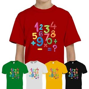 Kids Boys Girls Colourful Number Day 2021 Maths Symbols School Tee T-Shirt Top