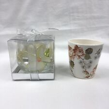 Vintage 1990's Ceramic Floral Cup Candle & Hand Painted Glass Tea Light Holder