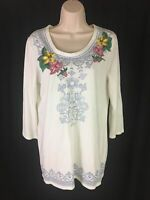 Relaxed by Charter Club Women's Sz M 3/4 Sleeve Embroidery Scoop Neck Floral EUC