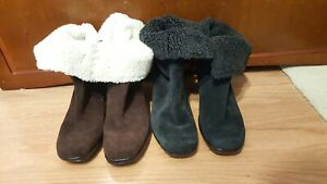 2 Pairs of Women's Clarks Faux Sterling Suede Heeled Boots Size 7.5