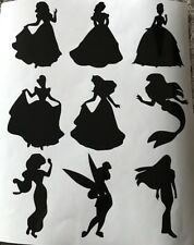 X9 Disney Princess Glass Craft Etched Vinyl Sticker Silhouette Disney Decal Car