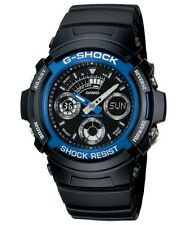 Casio G-Shock Analogue/Digital Mens Black/Blue Watch AW-591-2ADR