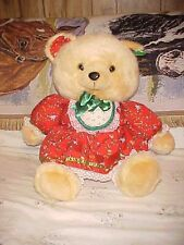"""1991 23"""" Tan K Mart Christmas Teddy Bear Red Dress Girl Tags attached Rare"""