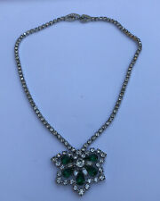 Vintage Kramer Green & White Rhinestone Necklace