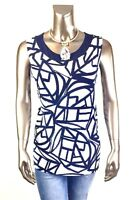 CHICO'S TRAVELER *NWT 2.(L) BLUE MESH-TRIM TANK TOP