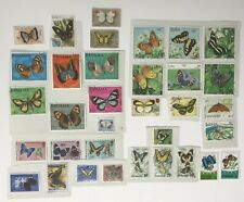 BUTTERFLIES. 34 Postage Stamps. From Caribbean + The Americas. Used/Unused