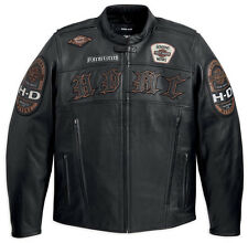 Harley Davidson Mens MOTO Black Leather HDMC MOTORCYCLE Jacket XL 97129-13VM New