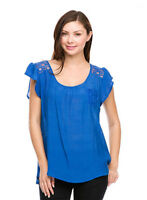 GLITZ2U SOLID ROYAL BLUE LACE RAYON COTTON CASUAL CAP SLEEVE TOP BLOUSE 1XL NEW