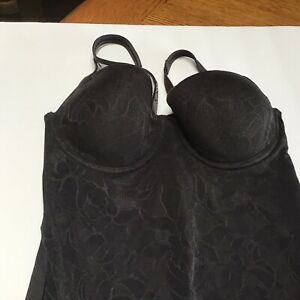 Bali Lace Shapewear Bodysuit 36B Black 6552 Used