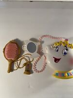 Disney beauty and the beast Mrs. Potts singing purse comes with necklace mirror