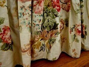 "Ralph Lauren Queen Bedskirt Dust Ruffle Floral 15"" Drop Cottage Brown Red Green"