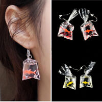 Novelty Women Girls Goldfish Water Bag Shape Dangle Hook Earrings Charm 1 Pair