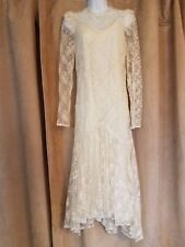 Stunning Ivory Sheath Wedding Dress with Long Sleeved Lace Overlay Size 7-8