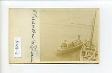 U.S. Navy RPPC real photo, USS Nevada's Steamer, sailors, antique postcard
