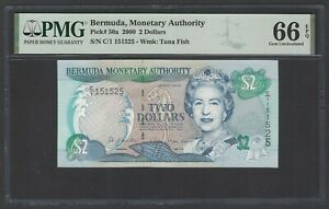 Bermuda 2 Dollars 2000 P50a Uncirculated Grade 66