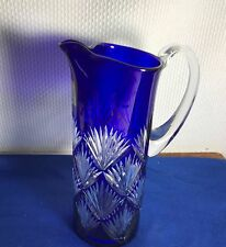 AJKA HUNGARY CRYSTAL COBALT DESIGN GUILD PITCHER
