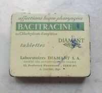 Vintage french cough Bacitracine Diamant advertising tin box France 50s #2