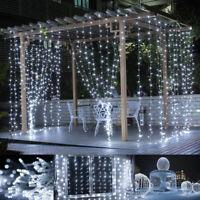 Warm White Window Curtain Lights String Fairy Light 600 led Wedding Party Garden