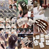 Women Crystal Pearl Hair Clip Snap Barrette Hairpin Fashion Hair Accessories