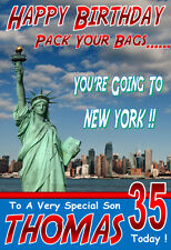 'YOU'RE GOING TO NEW YORK' Personalised Birthday Card! ANY NAME/AGE/RELATION!!!
