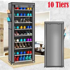 Shoe Cabinet Portable Wardrobe Rack Storage Holder Organiser 10 Tiers Cover