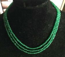 4mm Faceted 3 Rows Genuine Natural Green Emerald beads necklace17-19'' JN305