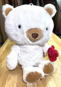 Hallmark Bella White Teddy Bear Blushing Pink Flowers Brown Stuffed Animal Plush