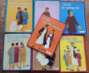 LA BIBLE EN BANDE DESSINEE LOT DE 7 ALBUMS JESUS PAUL CHRETIENS EVANGILE