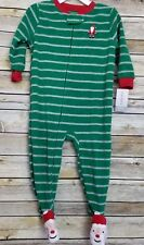 Carter's Christmas Sleeper Pajamas 18 Months Green Striped Santa Claus New