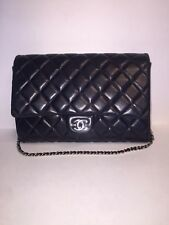 Chanel Navy Blue (marine fonce) quilted clutch/ Chain Bag