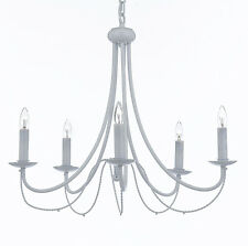 WROUGHT IRON CRYSTAL WHITE CHANDELIER LIGHTING COUNTRY FRENCH FIXTURE LAMP LIGHT