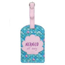 New Mermaid Off Duty Blue Pink Luggage Tag Holder Suitcase ID Bag Holiday Travel