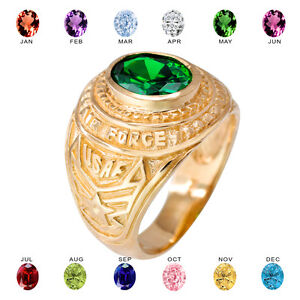 Solid 14k Yellow Gold US Air Force Men's CZ Birthstone Ring