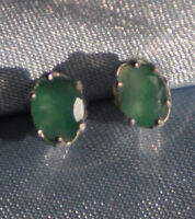 7MM x 5MM OVAL NATURAL EMERALD STUD EARRINGS IN STERLING SILVER app. 1.50 ct.