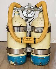 """Vintage Divers Aqualung Regulator DA """"aqua-master"""" hose DOUBLE SCUBA Twin TANKS"""