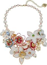 $195 NWT BETSEY JOHNSON LEATHER FLOWER PEARL & CRYSTALS STATEMENT BIB NECKLACE