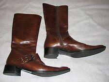 37.5 M Nebuloni Flavio Zanasca Brown Leather Ladies Boots Tall shoes ITALY zip 7