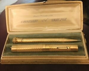 Antique Wahl Eversharp Gold Filled Fountain Pen & Pencil Set with Case CLEAN!