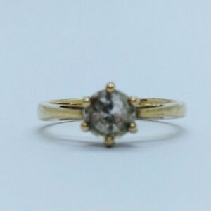 Gems Tv 9ct Yellow Gold Ice Zircon Solitaire Style Ring - Size N (With COA)