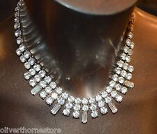 Gorgeous Womens Vintage Rhinestone Silver Chain Necklace