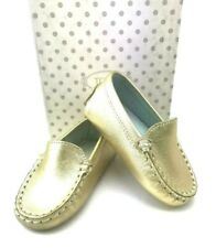 TOD'S BABY Unisex Italian Leather Gommino Moccasins in Gold US SZ 3 - BRAND NEW!
