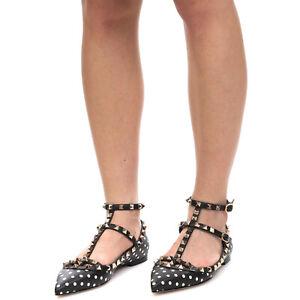 RRP €790 VALENTINO GARAVANI Leather Ankle Strap Flats EU 37 UK 4 US 7 Rockstuds