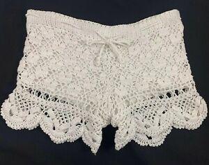 Anna Kosturova Shorts Ivory Cotton Crochet Drawstring- Size S NEW