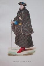 GRAVURE-COSTUME CIVIL FRANCE CHARLES VI-COSTUMES MOYEN AGE 1847-ANTIQUE  PRINT