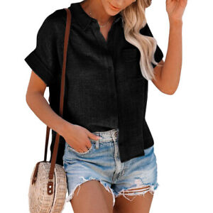 Womens Button Lapel Shirts Ladies Casual Baggy Short Sleeve Office Blouse Tops