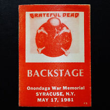 Grateful Dead Backstage Pass Syracuse New York NY 5/17/81 5/17/1981 Rick Griffin