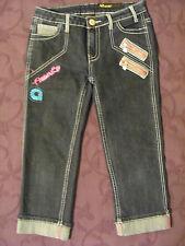 Akademiks Blue Embellished Cuffed Crop Jeans Cotton Blend Size 12 - CL411